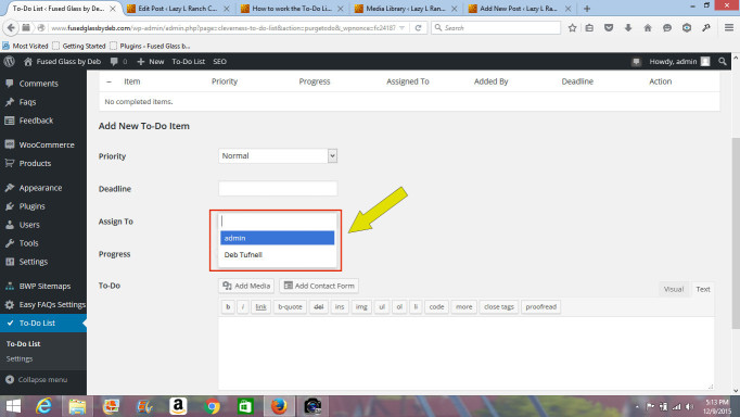 "Click in the ""Assign To"" box to select a User from the dropdown list."